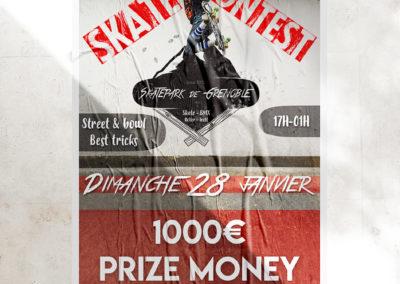 Affiche contest de skateboard fictif au Skatepark de Grenoble
