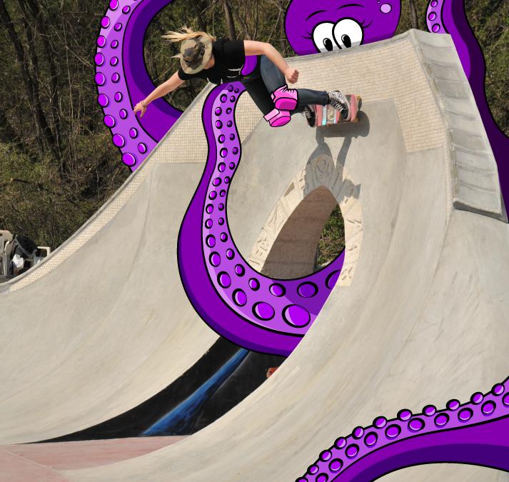 Illustration sur photo – porte de l'enfer skatepark de Saint Jean de Maurienne